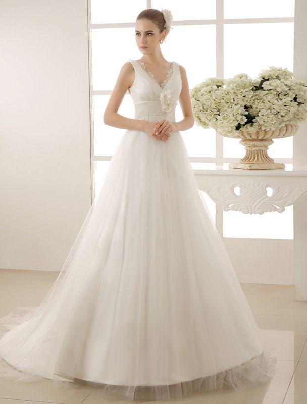 Brautkleid mit Kapelle-Schleppe und V-Ausschnitt mit Perlenverzierung