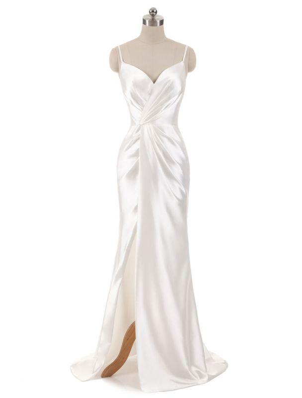 Brautkleider Meerjungfrau Ärmellose Abendkleider V-Ausschnitt Träger Split Elfenbein Brautkleid mit Hofzug Bridal