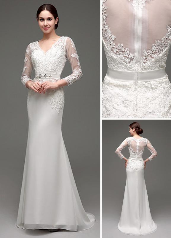 Etui-Linie Lange Ärmel Illusion Zurück V-Ausschnitt Brautkleid Mit Strass Schärpe