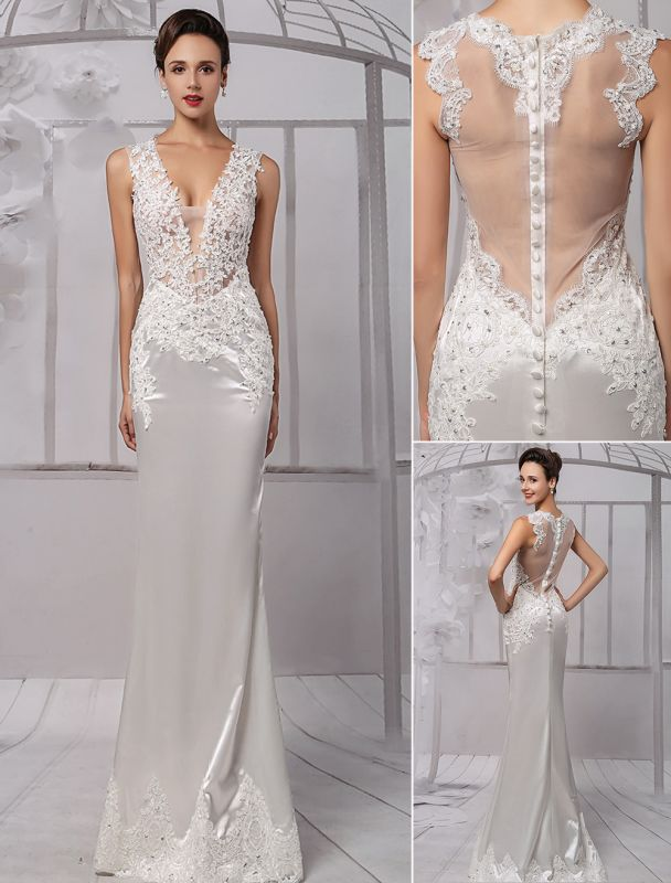 Sexy Lace Deep V-Neck Beaded Sheath/Column Illusion Back Bridal Gown Exclusive