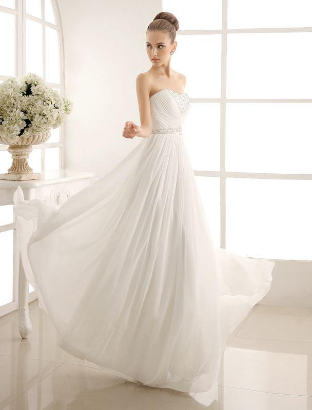Strapless Tiered Wedding Dress In Floor-Length