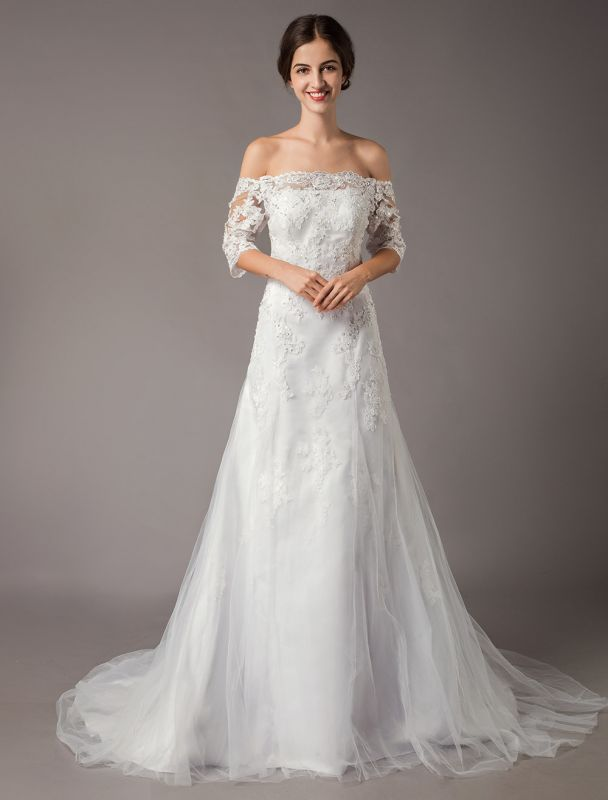 Wedding Dresses Ivory Lace Off Shoulder Half Sleeve Sequin Applique Bridal Dress With Train Exclusive