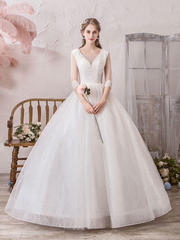 Brautkleid Prinzessin Silhouette Bodenlangen V-Ausschnitt Ärmellos Natürliche Taille Perlen Lycra Spandex Brautkleider