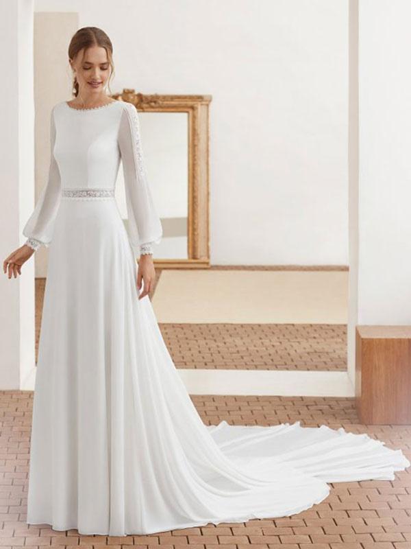 Einfaches Brautkleid mit Zug Chiffon Neckholder lange Ärmel Spitze A-Linie Brautkleider