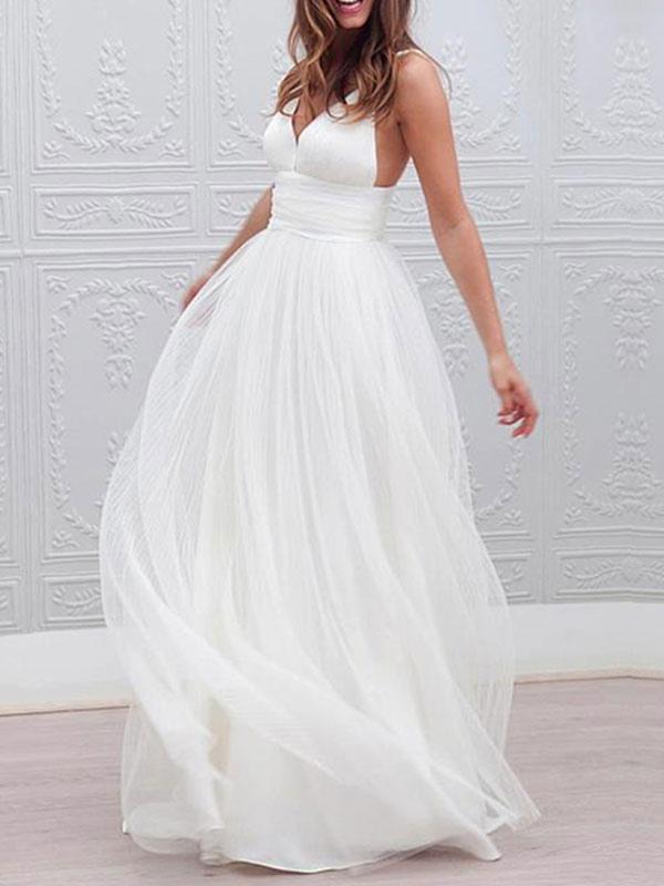 Einfache Brautkleider 2021 A Line V-Ausschnitt Träger Rückenfreies Tüll Brautkleid für die Strandhochzeit