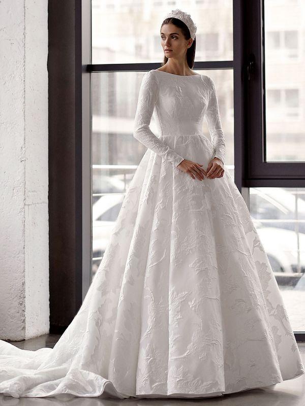 Weißes einfaches Brautkleid mit Zug A-Linie Jewel Neck lange rückenfreie Ärmel Satin Stoff Brautkleider