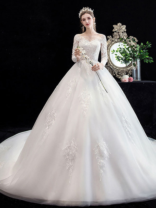 White Wedding Dress Ball Gown Cathedral Train Jewel Neck 3/4 Length Sleeves Natural Waist Applique Satin Fabric Bridal Dresses