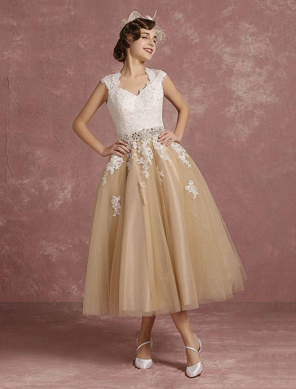 Vestido de novia de la vendimia Vestido de novia corto con apliques de encaje de champán Vestido de novia con cuello de la reina Ana Vestido de novia de la longitud del té
