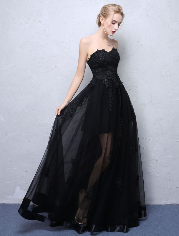 Black Prom Dresses Strapless Long Party Dress Lace Applique Sweetheart Illusion Formal Evening Dress