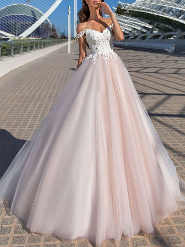 Wedding Dress Princess Silhouette Court Train Off The Shoulder Sleeveless Natural Waist Lace Tulle Bridal Gowns