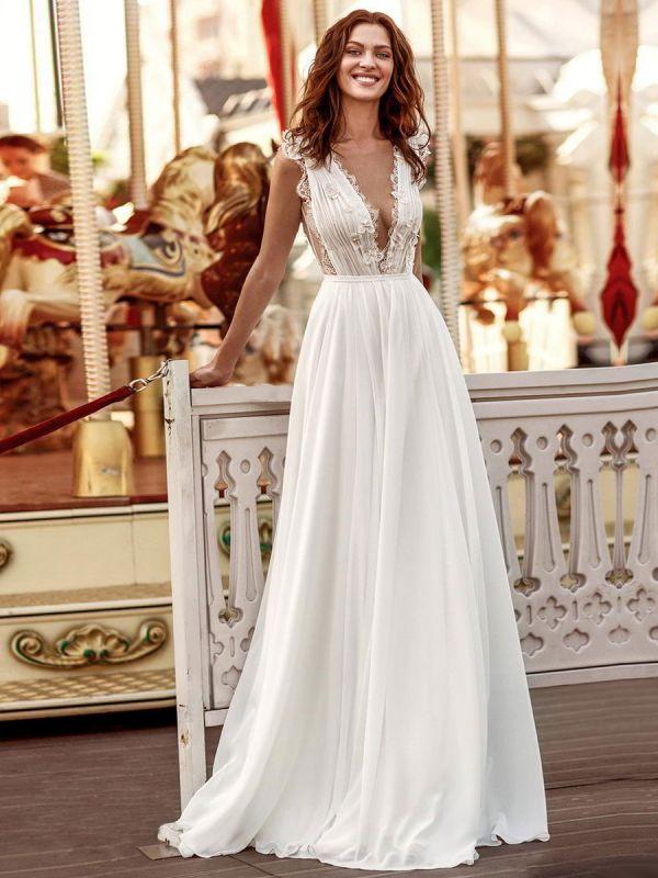 Vestido de novia blanco simple Una línea de tren de la corte Escote en V Cintura natural Sin mangas Gasa Encaje Vestidos de novia