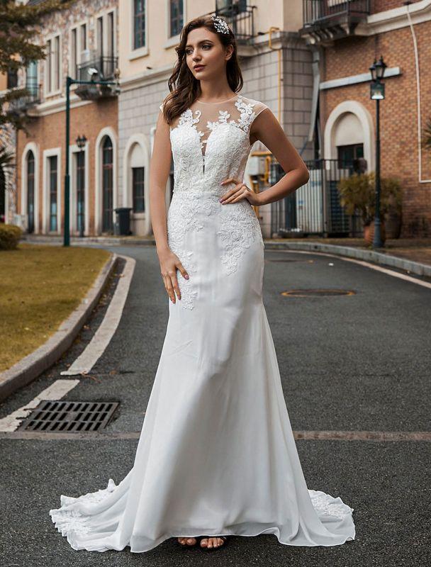 Hochzeitsbrautkleider Jewel Neck Ärmellos Natürliche Taille Knöpfe Hofzug Brautkleider Exklusiv