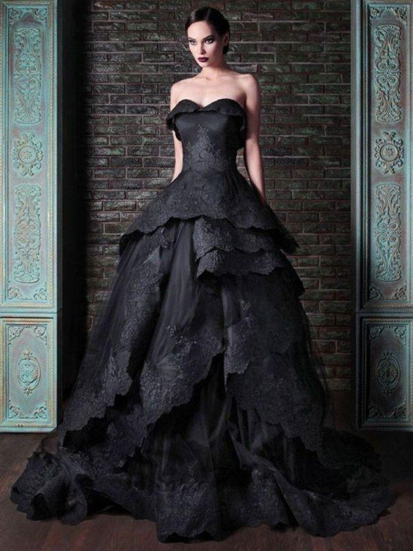 Gothic Brautkleider Satin Stoff Prinzessin Silhouette Ärmellos Natürliche Taille Perlen Hofzug Brautkleid