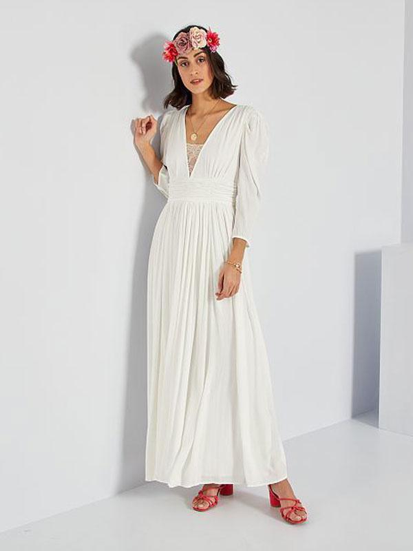 Robe de mariée simple ivoire A-ligne col en V manches longues plissée au sol en mousseline de soie robes de mariée