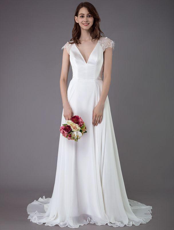 Strand-Hochzeitskleider-Spitze-Satin-A-Linie-Elfenbein-Luxus-Rücken-Kreuz-High-Split-Sommer-Brautkleider-Mit-Zug
