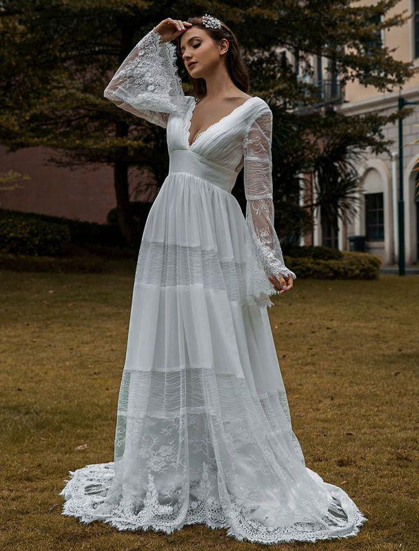 Brautkleider Boho Brautkleid mit langen Ärmeln Spitze V-Ausschnitt Spitze Chiffon Brautkleider Exklusiv