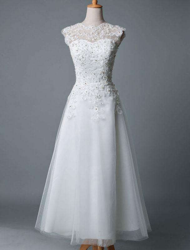 Vestido de novia vintage Hasta el té Cuello joya Sin mangas Una línea Cintura natural Tul Vestido de novia corto Exclusivo
