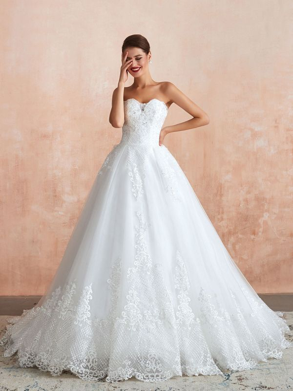 Wedding Dress Princess Silhouette Sweetheart Neck Sleeveless Natural Waist Bridal Gowns With Train