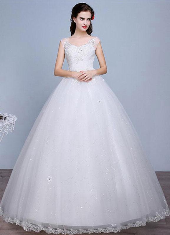 Ivory Wedding Dress Lace Sleeveless V Neck Rhinestones Beaded A-Line Floor Length Bridal Gown
