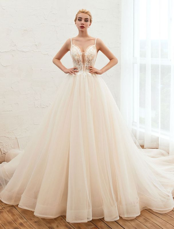 Vestido de novia 2021 Una línea Cuello en V Sin mangas Cintura natural con tren Vestidos de novia de tul