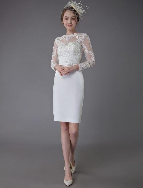 Vintage Brautkleider Jewel Langarm Etui Kurzes Brautkleid Exklusiv