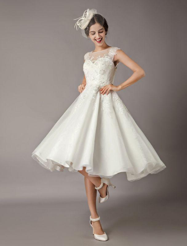 Vintage Wedding Dresses Short Lace Tulle Sequin Tea Length Ivory Bridal Dress