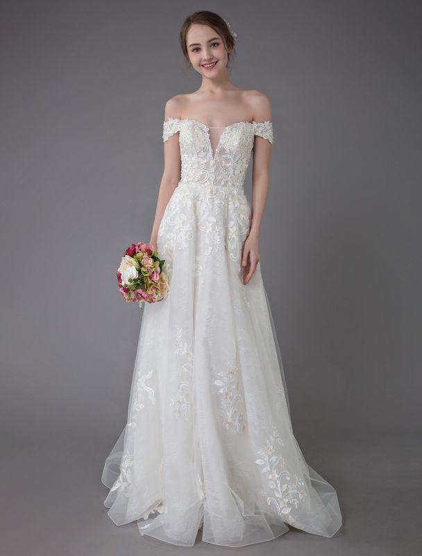 Robes de mariée d'été hors de l'épaule dentelle champagne appliques perles maxi plage robes de mariée
