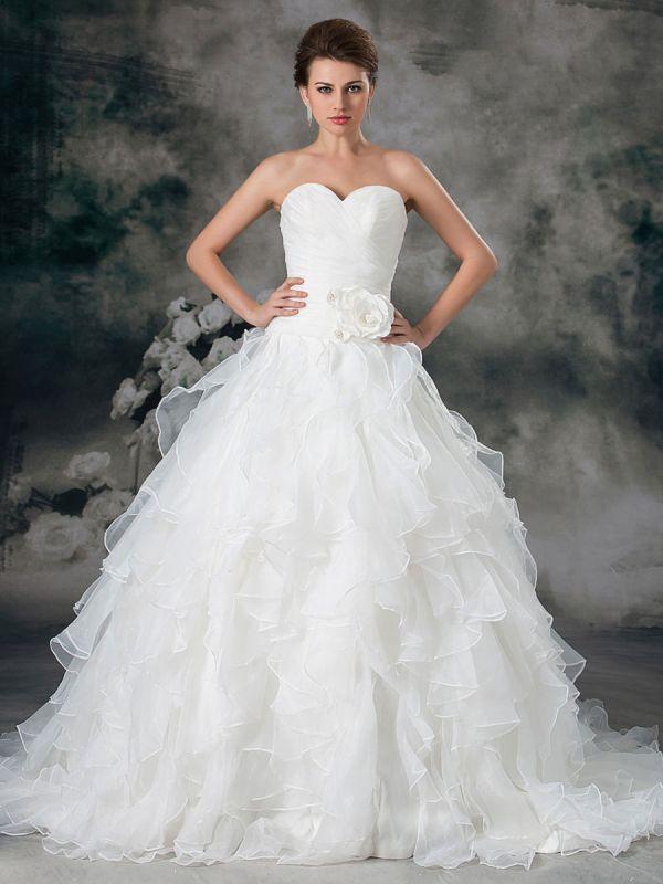 Glamouröses Elfenbein Gerafftes Herzausschnitt A-Linie Brautkleid aus Organza
