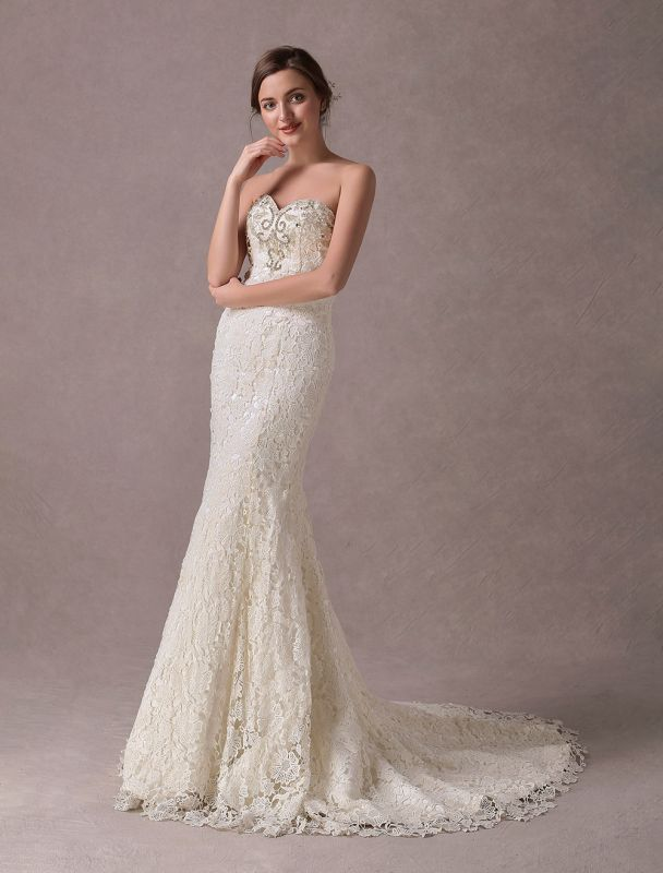 Mermaid Wedding Dresses Lace Strapless Ivory Sweetheart Beaded Bridal Dress With Train Exclusive