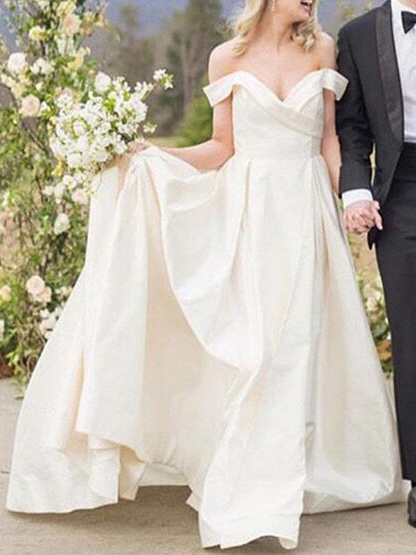 Vintage Brautkleider Schulterfrei Ärmellos Natürliche Taille Satin Stoff Gericht Zug Schärpe Brautkleid