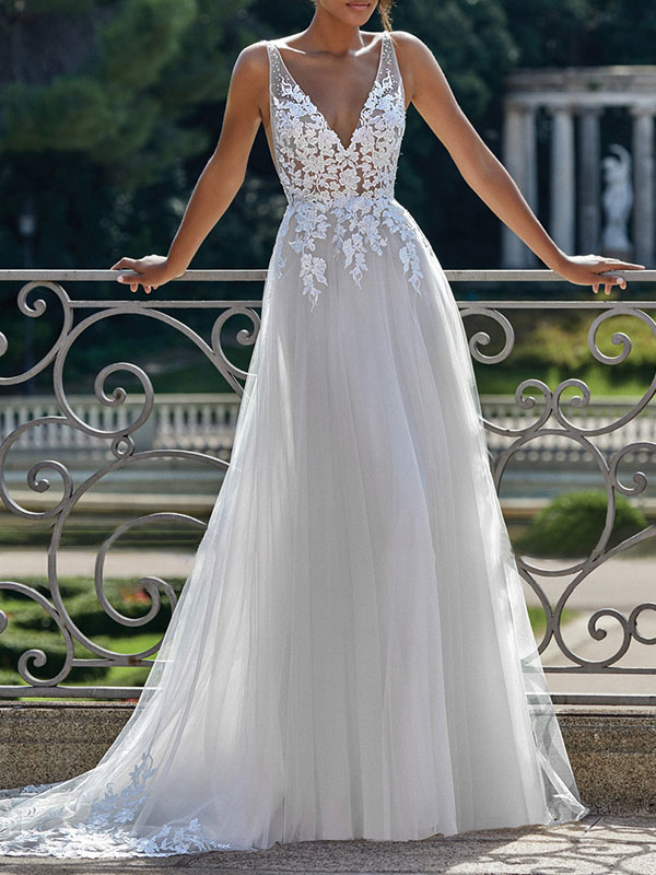 Simple Wedding Dress 2021 A Line V Neck Straps Sleeveless Lace Appliqued Tulle Bridal Gown