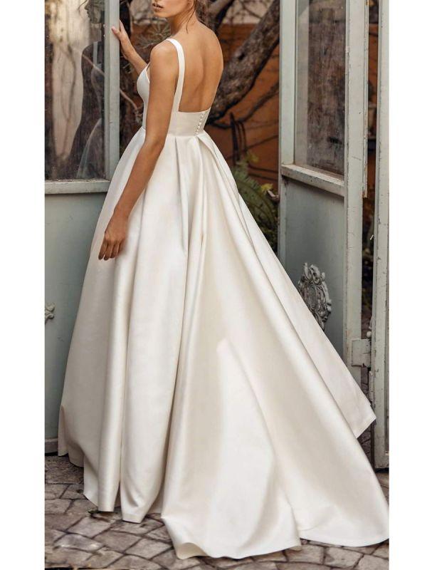 Vintage Brautkleider Square Neck Sleeveless Natural Waist Satin Stoff Gericht Zug Schärpe Brautkleid