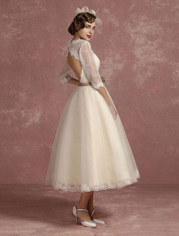 Vintage Brautkleid Kurze Spitze Tüll Brautkleid Halbarm V-Ausschnitt Backless A-Linie Blume Schärpe Tee Länge Brautkleid Exklusiv
