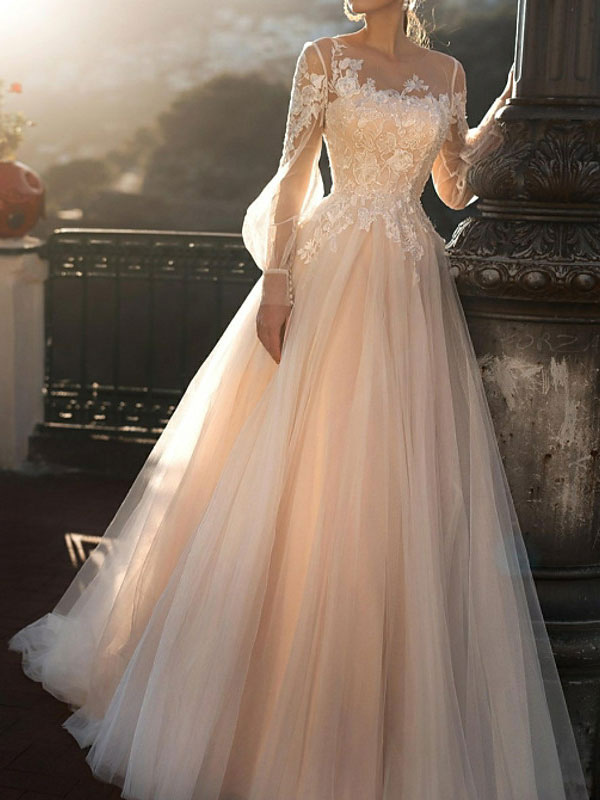 White Wedding Dresses A-Line Court Train Long Sleeves Single Thread Tulle Buttons Illusion Neckline Bridal Gowns