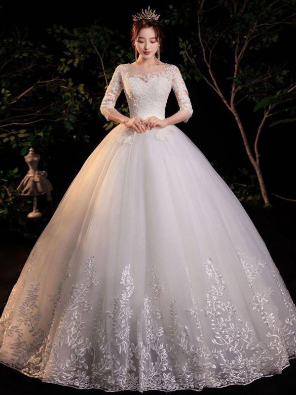 Simple Wedding Dress Eric White Ball Gown Jewel Neck Half Sleeves Applique Long Bridal Dresses