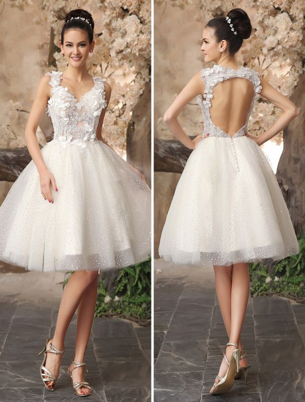 Ivory Backless Lace Applique Tulle Sequins Wedding Dress Exclusive