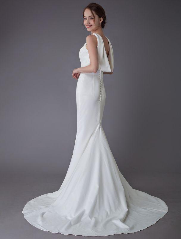 Brautkleider Elfenbein Mantel Einfaches Brautkleid mit Wasserfallausschnitt Strandhochzeitskleider mit Zug Exklusiv
