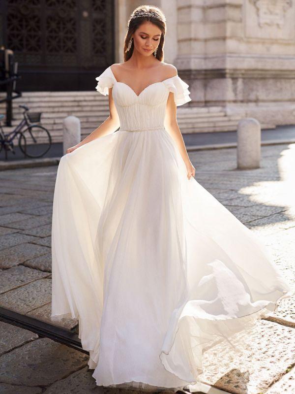 Einfaches Hochzeitskleid A Line Off The Shoulder Natürliche Taille Chiffon Brautkleider