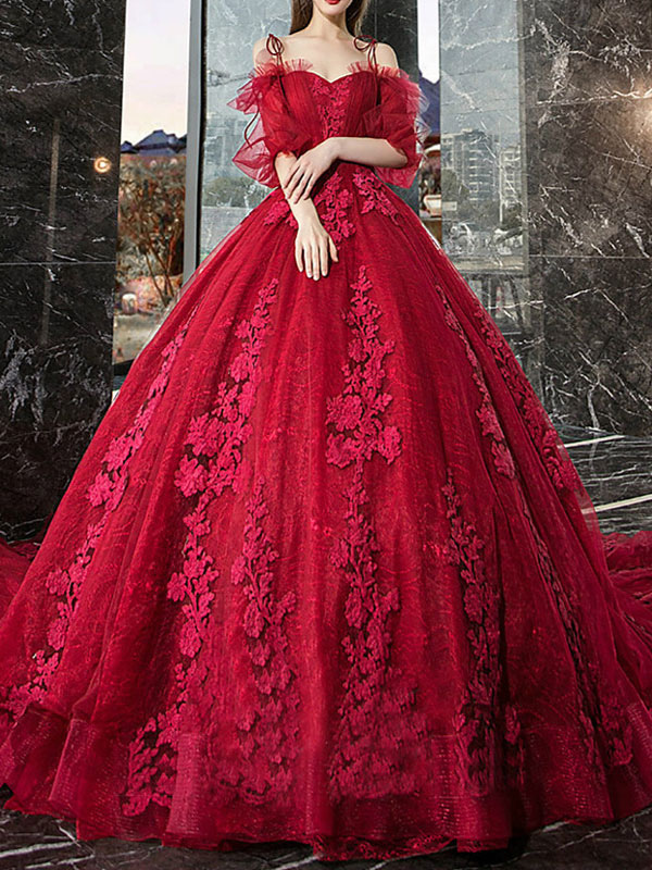 Red Princess Wedding Dresses Tulle Half Sleeves Bridal Gown Applique Evening Party Dresses