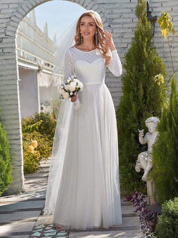 Weißes einfaches Hochzeitskleid Jewel Neck Long Sleeves Natural Waist A-Line Tüll Lange Brautkleider