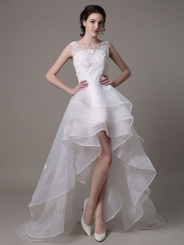 Asymmetrical Organza Wedding Dress High Low A-Line With Lace Beading Flower Exclusive