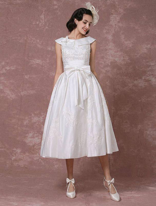 Vintage Wedding Dress Satin Short Bridal Gown Lace Beading Tea Length Reception Bridal Dress Detachable Bow Sash Exclusive
