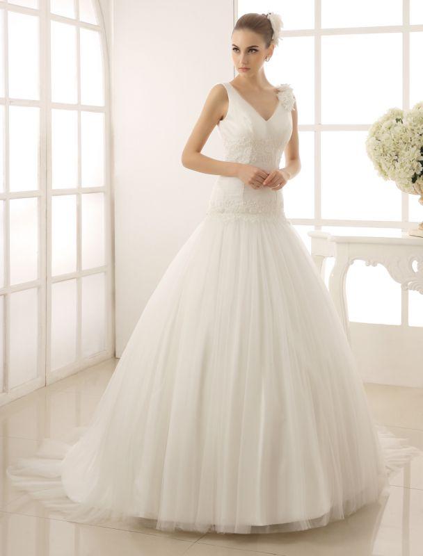 V-Neck Mermaid Brides Wedding Dress With Flowers Detailing