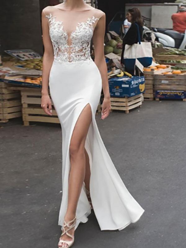 Weiße Hochzeitsbrautkleider Bodenlangen Ärmellos Applique Illusion Ausschnitt Braut Meerjungfrau Kleid Abendkleid