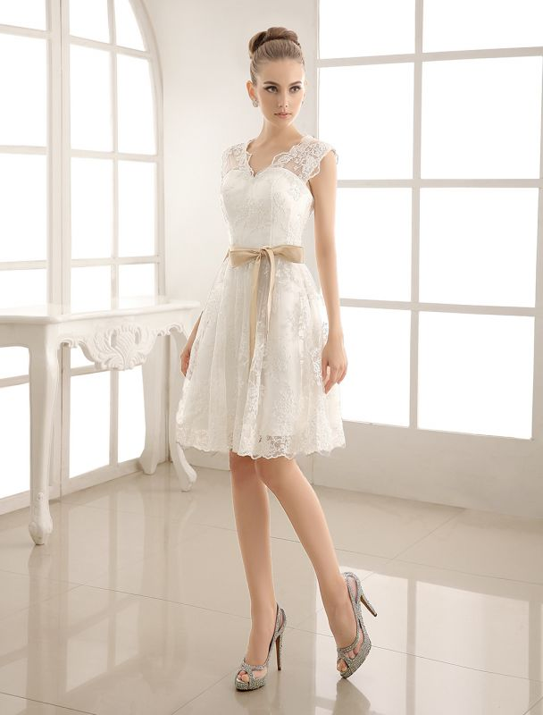 Ivory Simple Wedding Dresses 2021 Lace Applique V Neck Ribbon Sash Short Bridal Dress Exclusive
