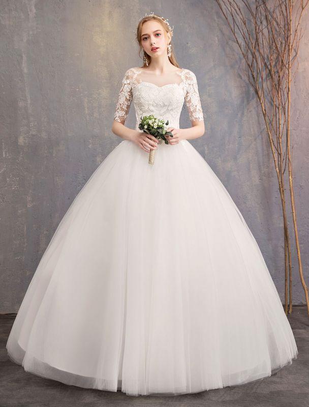 Vestidos de novia de encaje Marfil Escote de ilusión La mitad de manga Hasta el suelo Vestido de novia de princesa