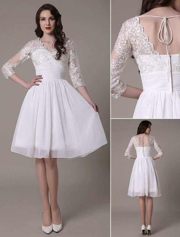 Simple Wedding Dressses Chiffon V Neck Lace A Linepleated Bridal Dress Exclusive