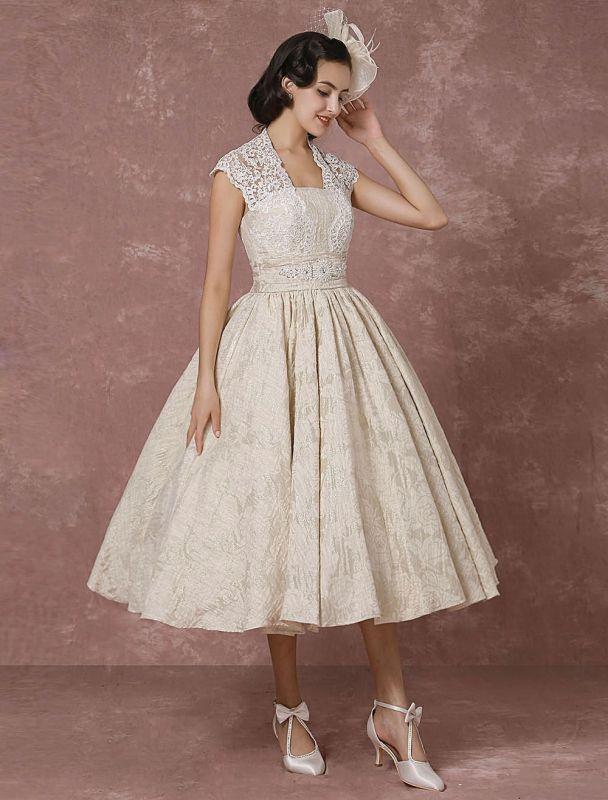 Kurzes Brautkleid Spitze Champagner Vintage Brautkleid Ballkleid Perlen Backless Tee-Länge Brautkleid Mit Schärpe Exklusiv