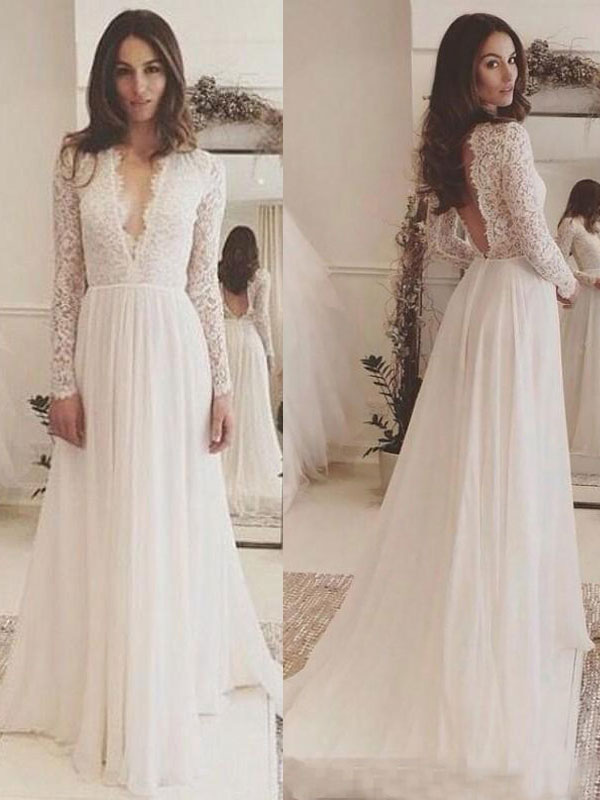 Simple Wedding Dress Chiffon V Neck Long Sleeves Lace A Line Bridal Dresses With Train