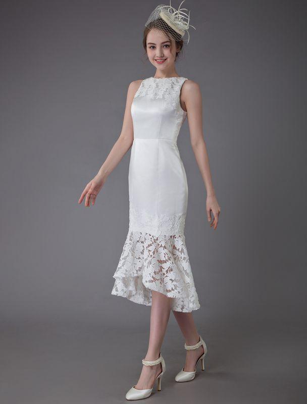 Kurzes Brautkleid Vintage Jewel Ärmelloses Etui-Brautkleid Exklusiv